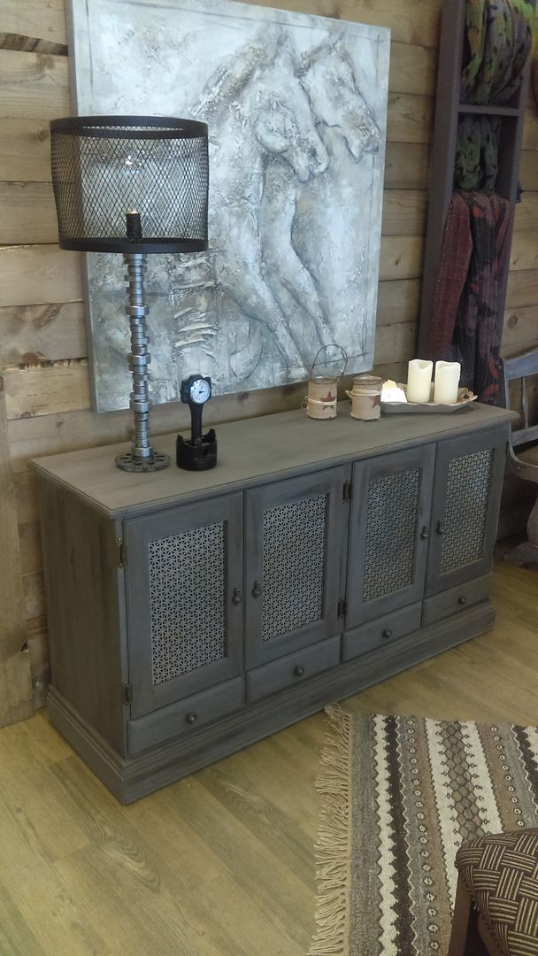 Weathered buffet created by distressing American Paint Company's 'Gunpowder chalk paint.