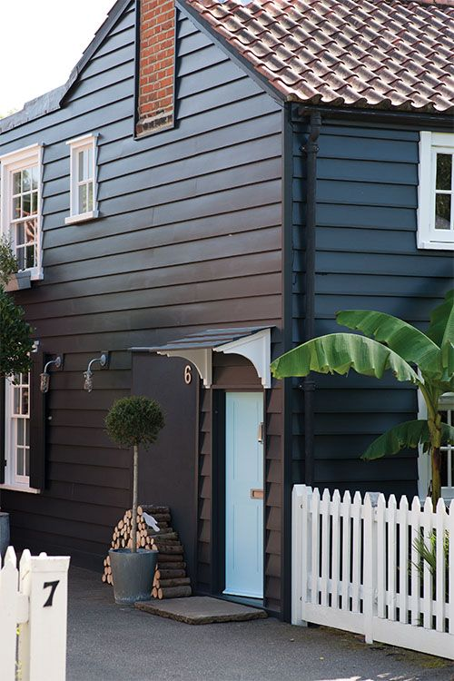 Farrow & Ball: House in Off-Black No.57 and door in Blue Ground No.210 | Exterior Eggshell - See more at: http://us.farrow-ball.com/exterior-inspiration/content/fcp-content#sthash.OzVM5KiK.dpuf