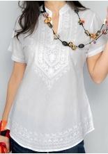 Blusa B004H. blusa algodón de manga corta con finos detalles bordados en el pecho. cuello tipo chino. Al mejor precio de la red en www.badabadoc-moda.es