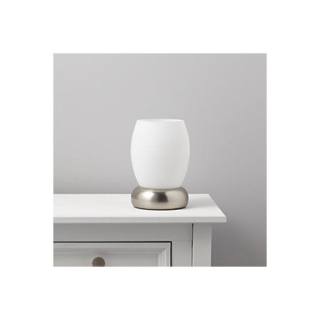 Roswell White Stainless Steel Effect Table Lamp | Departments | DIY at B&Q