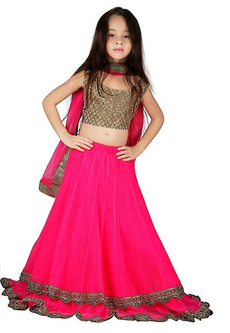Fuschia Net Readymade Lehenga Choli with Dupatt...