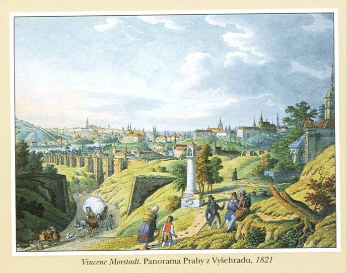 Panorama Prahy z Vyšehradu, Vincenc Morstadt, 1821