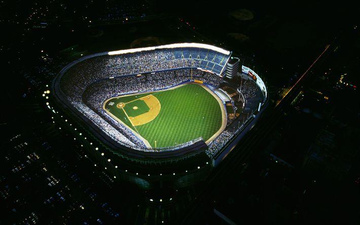 Download wallpapers Yankee Stadium, 4k, night, view from above, New York Yankees, MLB, USA, America