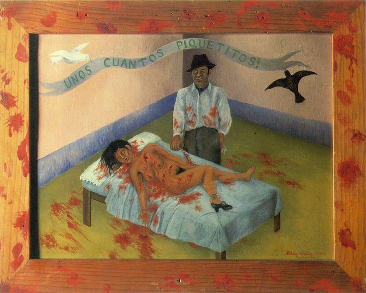 Unos cuantos piquetitos. FRIDA KAHLO. Cd. de México. (1907-1954). 1935. Óleo sobre metal. 30 x 40 cm. - Museo Dolores Olmedo Patiño.