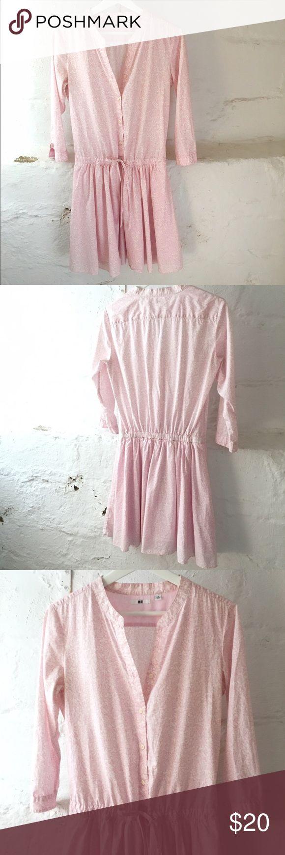 Uniqlo Cotton Shirt Dress Drawstring  Waist Shirt dress from Uniqlo. 100% Cotton. Lined Skirt Bottom. Excellent Condition Never  🚫no trades pls🚫 Uniqlo Dresses