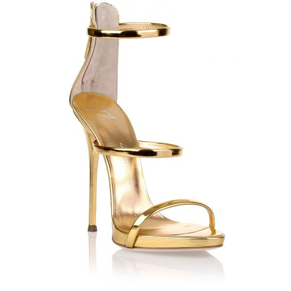 Giuseppe Zanotti Harmony Gold Sandal (10.225 ARS) ❤ liked on Polyvore featuring shoes, sandals, gold, strappy high heel sandals, gold high heel shoes, metallic gold shoes, gold strap shoes and high heeled footwear