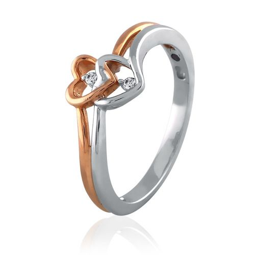 TWO TONE TWIN HEART PROMISE RING