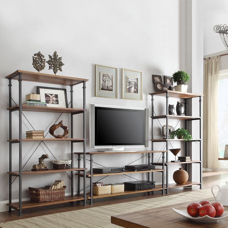 The Myra 3-piece TV stand set with 40-inch bookcases have a weathered and timeworn patina that allows traces of the original color and natural wood to show through. The shelf provides additional storage compartment for book and magazine storage.