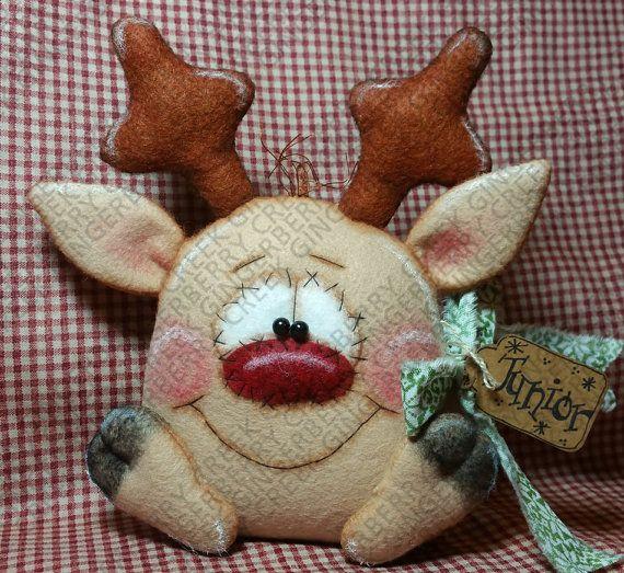Patrón - patrón de renos Rudolph volante Junior #185 - muñeca primitiva-patrón de