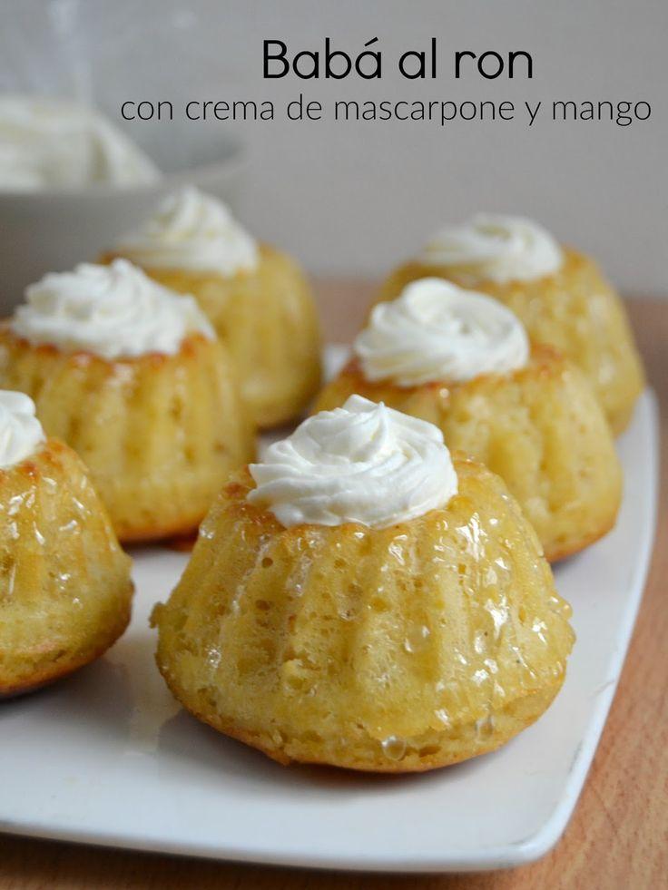 Babá al ron con crema de mascarpone y mango