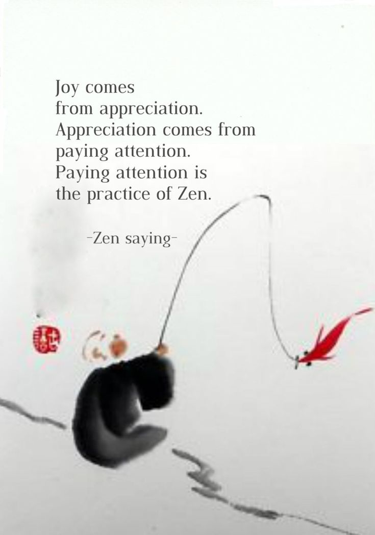 Joy comes from appreciation. Appreciation comes from paying attention. Paying attention is the practice of Zen. (from; one hundred days of solitude: Losing myself and finding grace on a zen retreat.... Check: http://www.illulife.com/ for more!