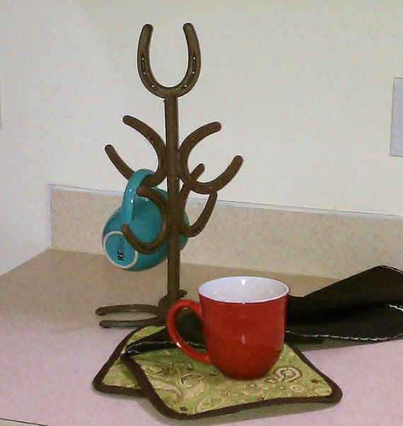 Horseshoe Mug Tree rack western southwestern cowboy by LizzyandMe, 40.00