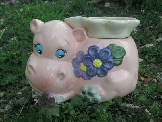 Self Watering African Violet Pot Pink Hippo With Purple