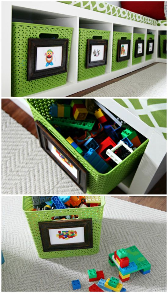 Picture labels for easy storage solutions in the playroom!