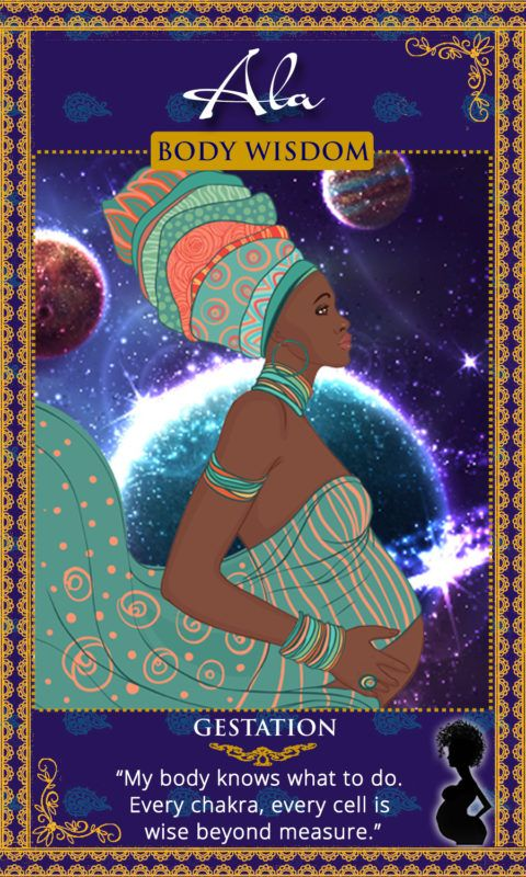 """My body knows what to do. Every chakra, every cell is wise beyond measure."" Goddess Ala, Igbo Goddess. Womanifesting Goddess Affirmation Cards. Sacred Manifestation."