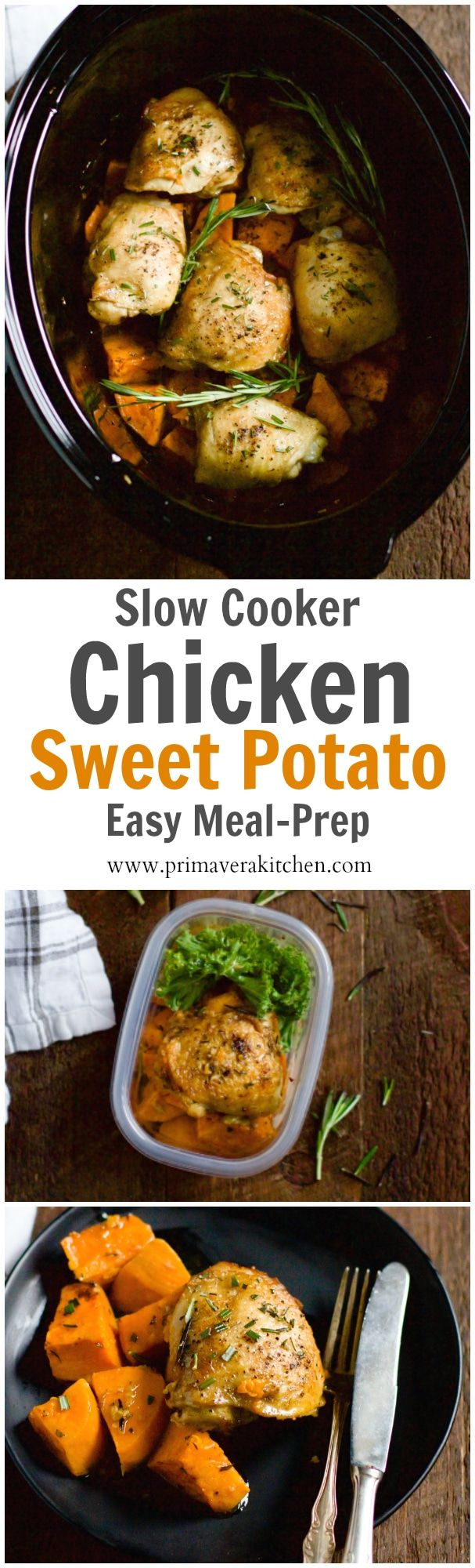 Slow Cooker Chicken and Sweet Potato - This Slow Cooker Chicken and Sweet Potato only requires 6-ingredient, 10 minutes to prep and it is a healthy and easy meal-prep recipe for during the week!