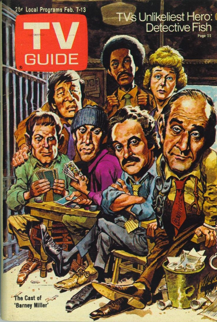 """Cast of """"Barney Miller"""" on """"TV Guide"""" from February 07, 1976 by Jack Davis (Better version of an earlier pin)"""