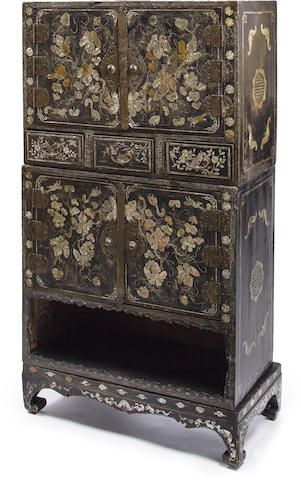 A Korean Black-Lacquered Wood Cabinet Joseon Dynasty, late 19th century