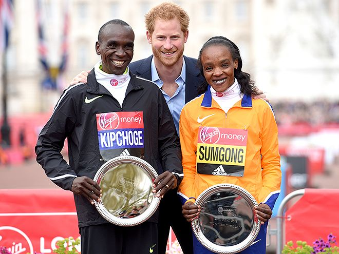 Star Tracks: Monday, April 25, 2016 | WINNERS' COURT | Prince Harry posed with Eliud Kipchoge and Jemima Sumgong after they won the men's and women's races during the Virgin London Marathon 2016 on Sunday.