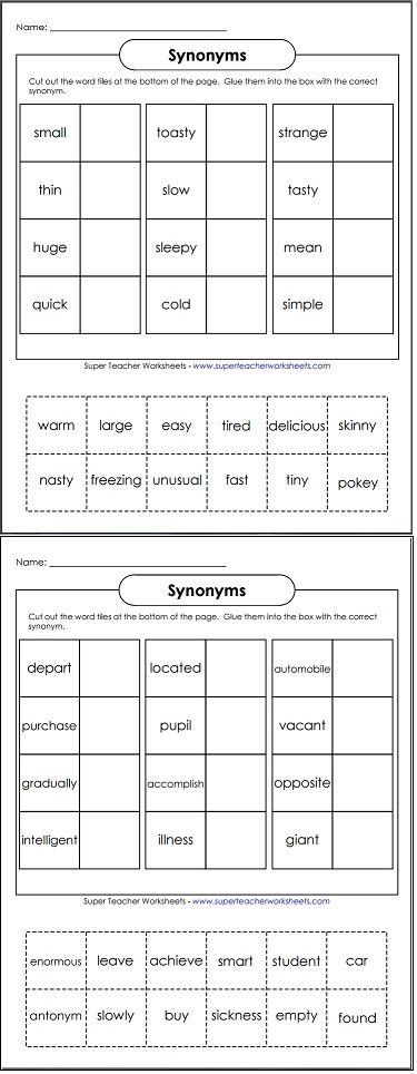 Cut and glue the words to make pairs of synonyms.