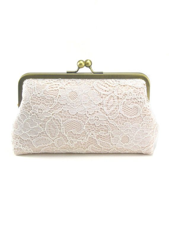 Blush Clutch  Wedding Purse  Bridal Clutch  Lace by DavieandChiyo