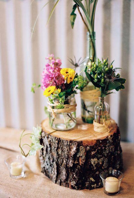 Best ideas about tree stump centerpiece on pinterest