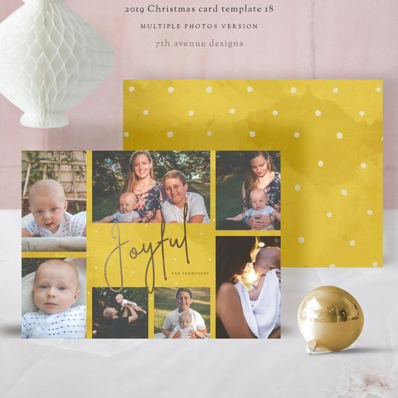 Multiple Photos Christmas Card Templates Vol 18 7x5 Inch Card Etsy Weihnachten 20er