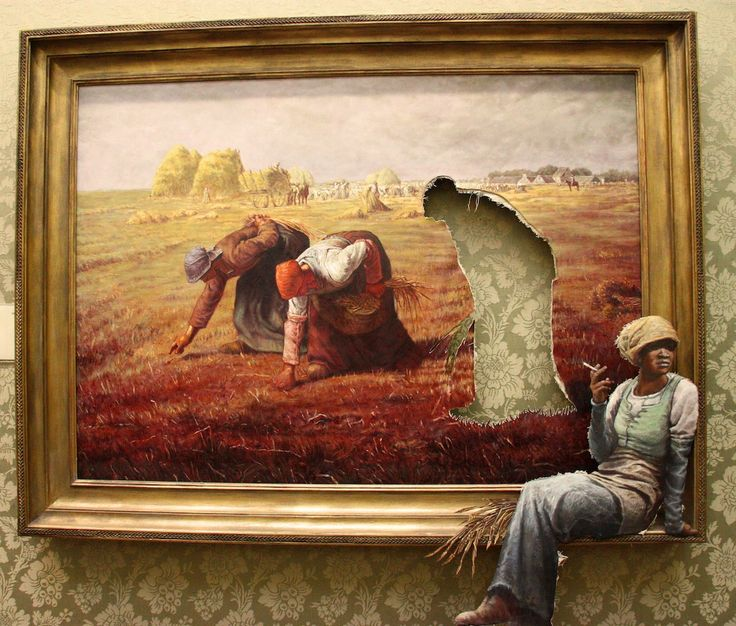 Always thought this was a genius idea: Banksy ~ Here's Banksy's version of Jean-François Millet's The Gleaners (1857), one of the paintings in his exhibition Banksy v Bristol Museum. Classic French style, classic Banksy visual deception adapted to the interior of an art gallery.
