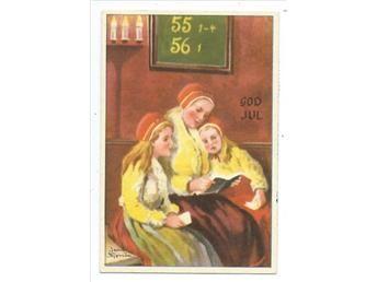 Jenny Nyström Kerstmis småkort Moeder o dochters in de kerkbank Kostuums PG 195?  KV 07:08
