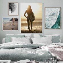 Sea Wave Beach Sexy Woman Surf Big Leaves Wall Art Canvas Painting Nordic Posters And Prints …