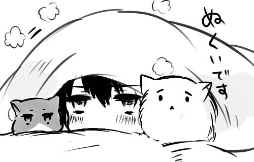 cat chibi cute kawaii b&w neko SUGOI bakaa-chann •