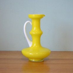 Vintage Mid century glass yellow vase display