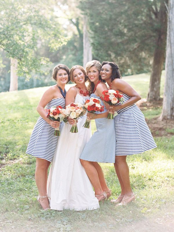 Super sweet preppy blue striped bridesmaid dress idea