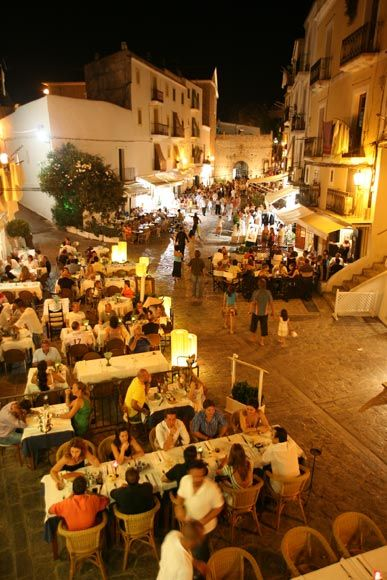 SPAIN - Ibiza: Ibiza PLaza de Vila. This is a square where you can sit almost anywhere and enjoy good traditional cooking.