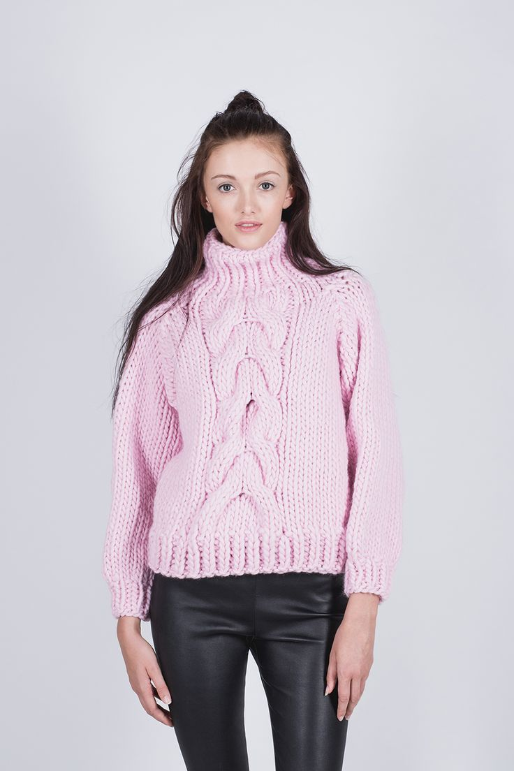 Beautiful turtleneck style long sleeved jumper with eye-catching cable detail acrossthe front. Created with 100% wool and cropped in length, it is a stylish andcomfortable addition to any wardrobe. Fits true to size. Size up if you would like it tofit more loose/oversized. DELIVERY TIME:6-8 weeks 100% pure, soft wool Knitted by hand