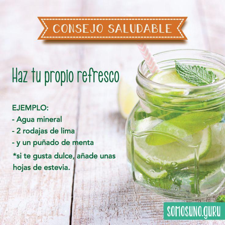 Consejo Saludable:  Haz tu propio refresco natural. Menta y lima