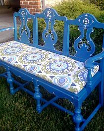 DIY bench made out of old chairs