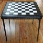transform a weathered card table into a checkerboard