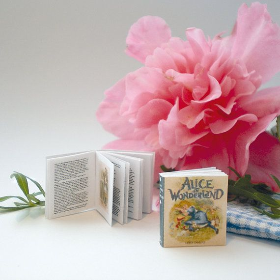Miniature Alice in Wonderland Book (double sided printed pages, with illustrations) - Free Postage Worldwide
