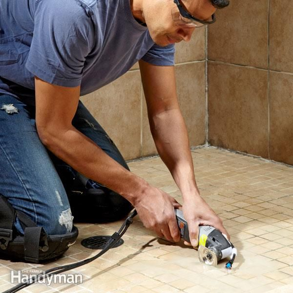Solve the problem of how to remove grout quickly and without a lot of dust by adding a water spraying attachment to your oscillating tool and fitting it with a diamond blade.