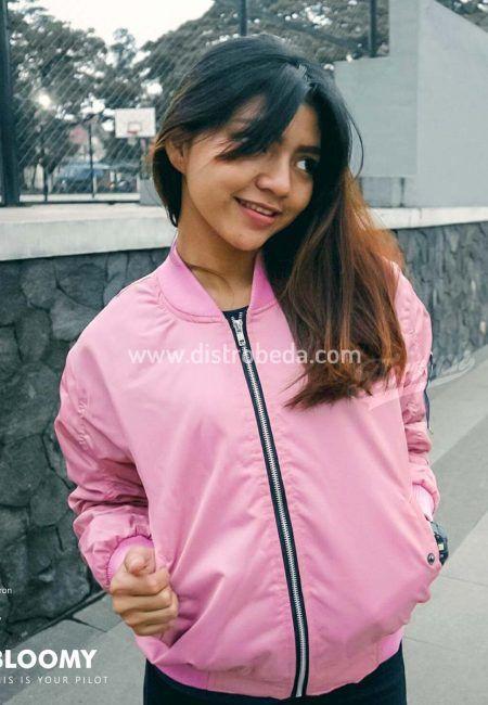 Jaket Bomber Wanita Pink  220c6a8ec7