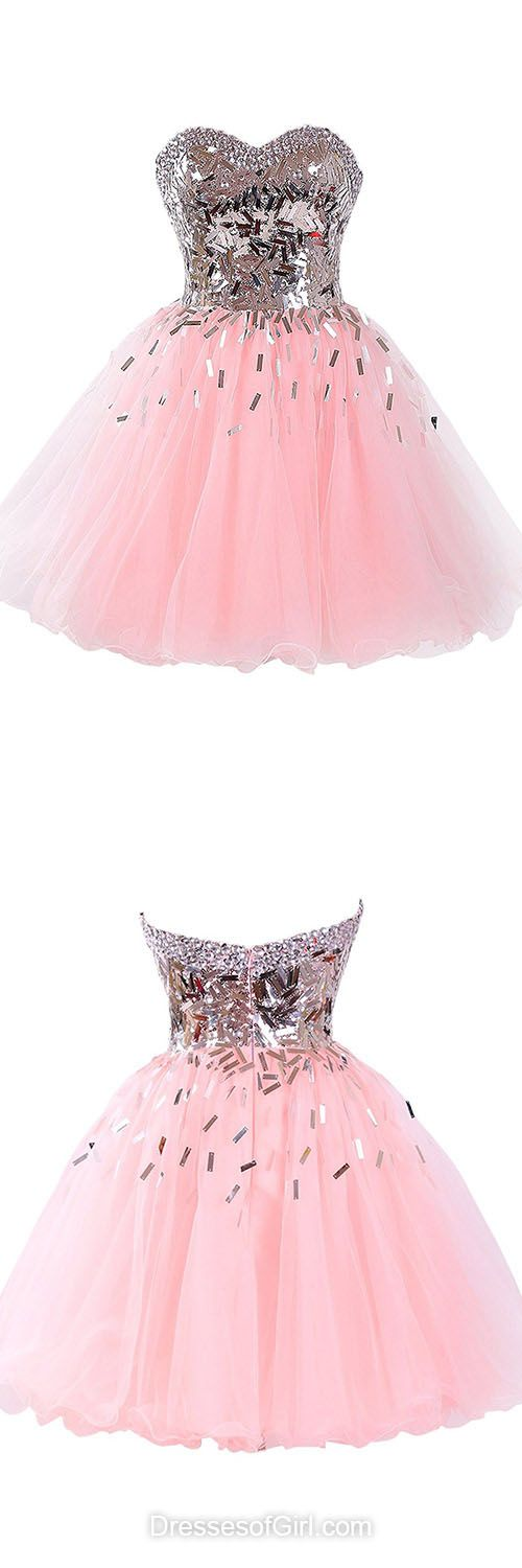 Princess Homecoming Dresses, Sweetheart Prom Dresses, Short Graduation Dresses, Pink Party Gowns, Cute Cocktail Dress