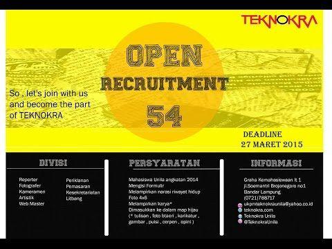 Open Rekrutmen Ke-54 UKPM Teknokra Universitas Lampung (Part 1)
