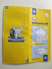 CARTE ROUTIERE TOURISME AUTOMOBILE MICHELIN FRANCE N°58 BREST QUIMPER 1983