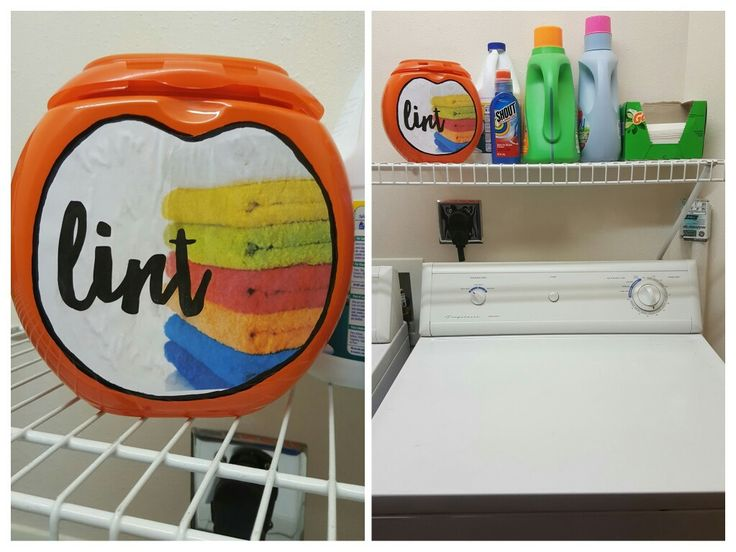 Turn an empty Tide Pod container into a lint holder! I used to have an unsightly plastic Walmart sack hanging on the wall. Now I've crafted a cute solution while waiting for the laundry to dry!