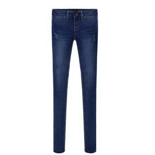 Narrow Feet Solid Color Low Waisted Simple Style Women's Jeans