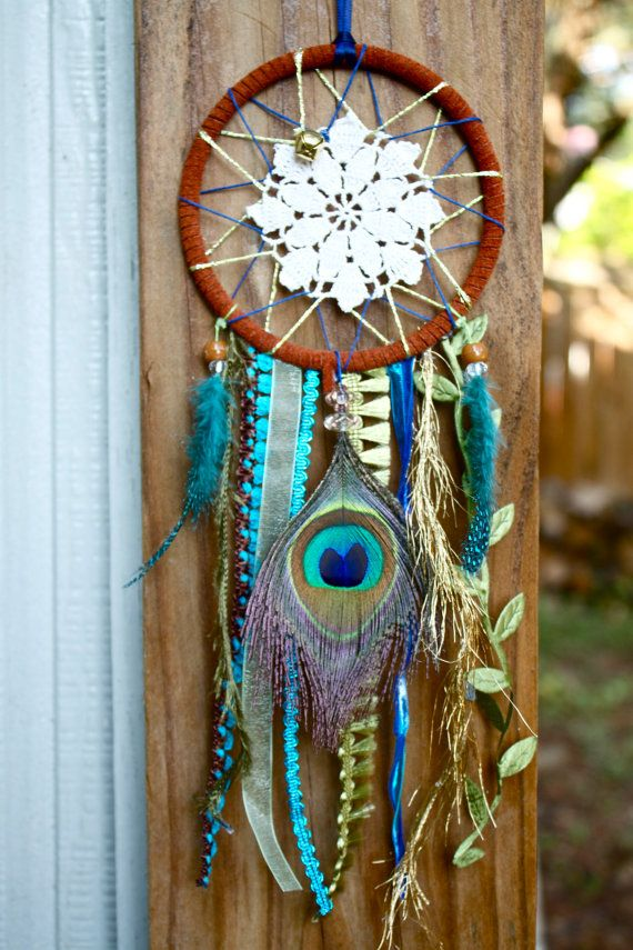Dreamcatcher - Doily, Peacock feather design w/ blue and green.. $20.00, via Etsy.