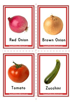 Flashcards of Vegetables