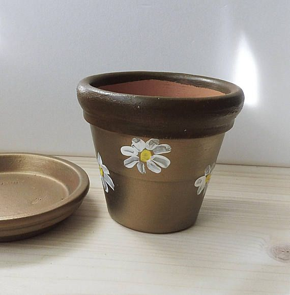 Hand Painted Clay Pot Painted Pottery Chamomile Flowers Pot