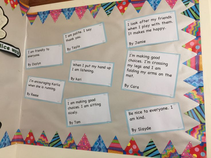 We wrote sentences to show how we are following the classroom treaty.